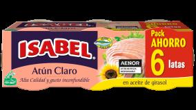 Pack 6 latas de Atún Claro en aceite de girasol 420g (6x70g)